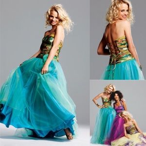 Faviana Couture Print Chiffon/Tulle Ball Gown
